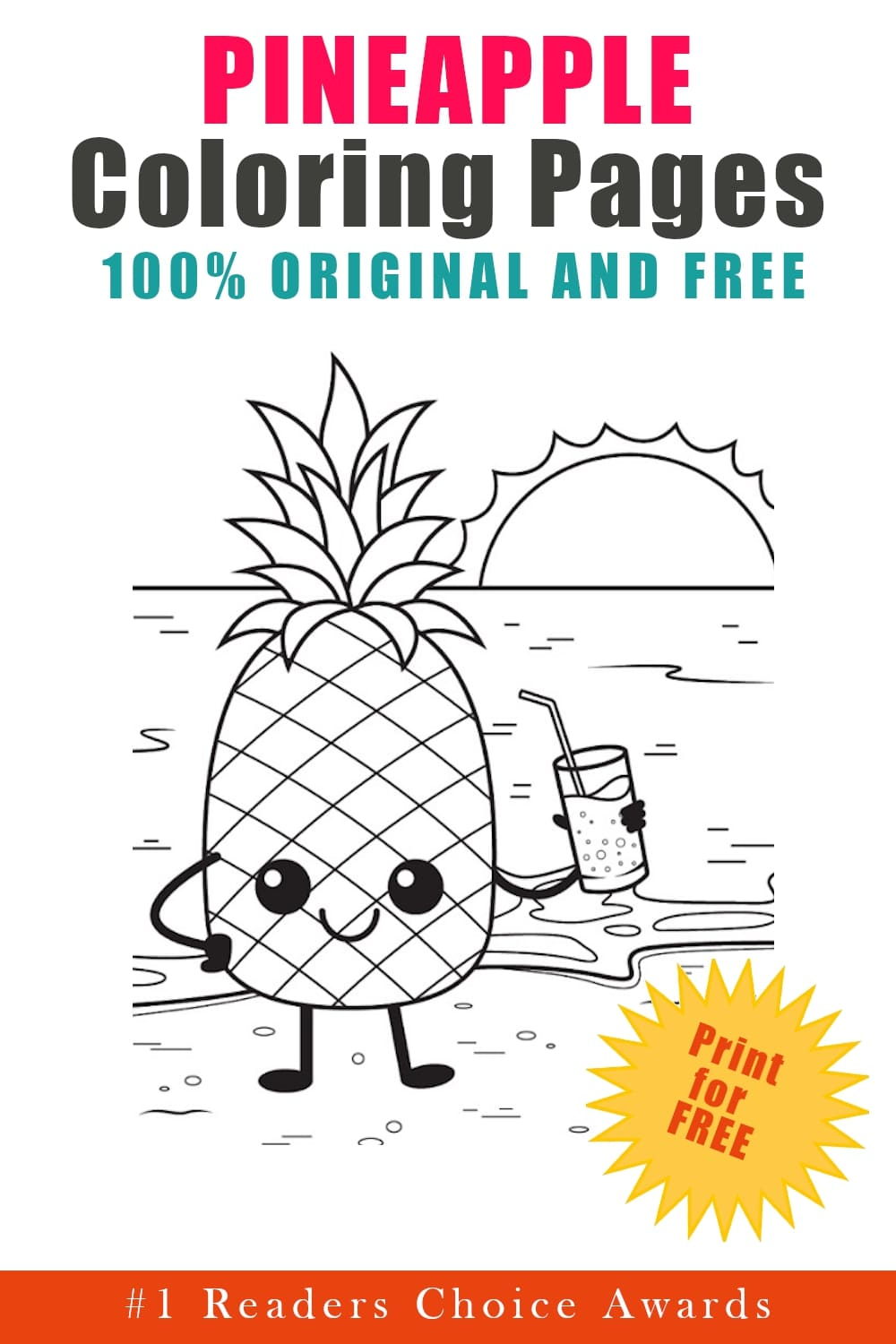 original and free pineapple coloring pages