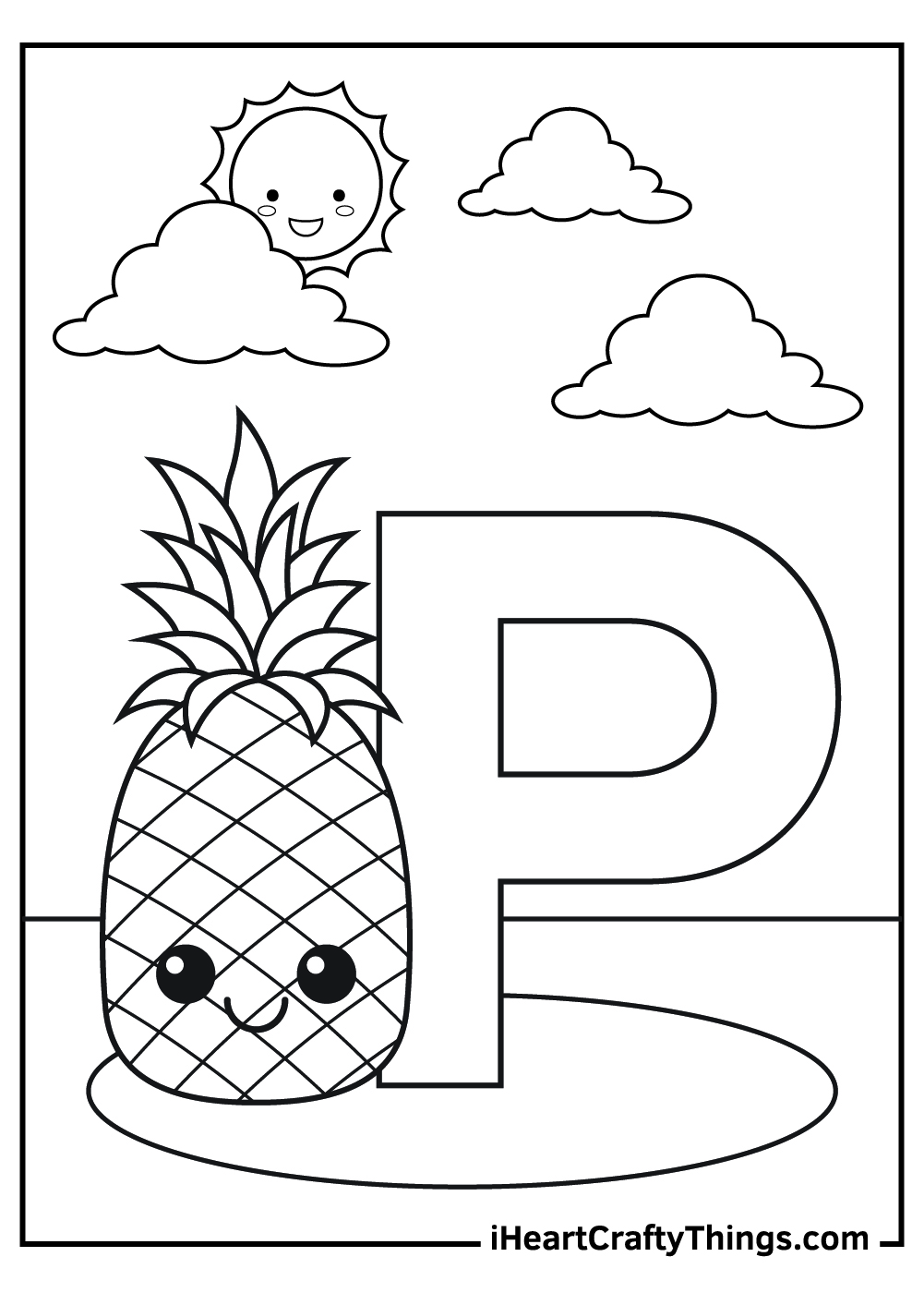 P is for pineapple coloring pages free download