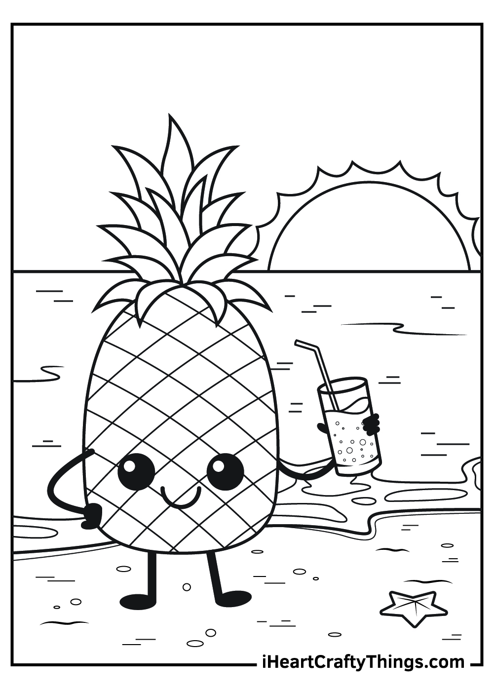 cute and funny pineapple coloring pages