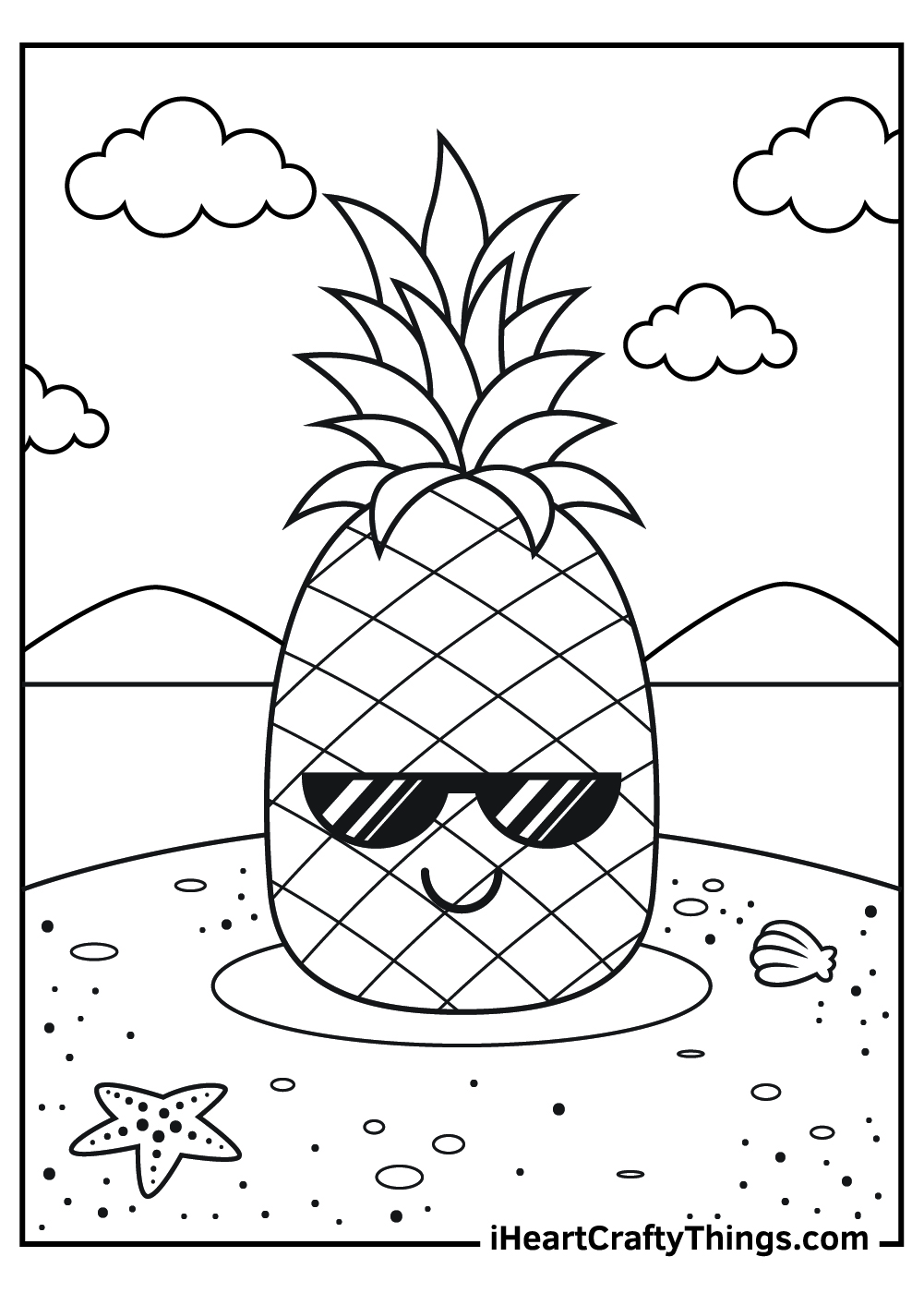 a pineapple with sunglasses coloring pages free
