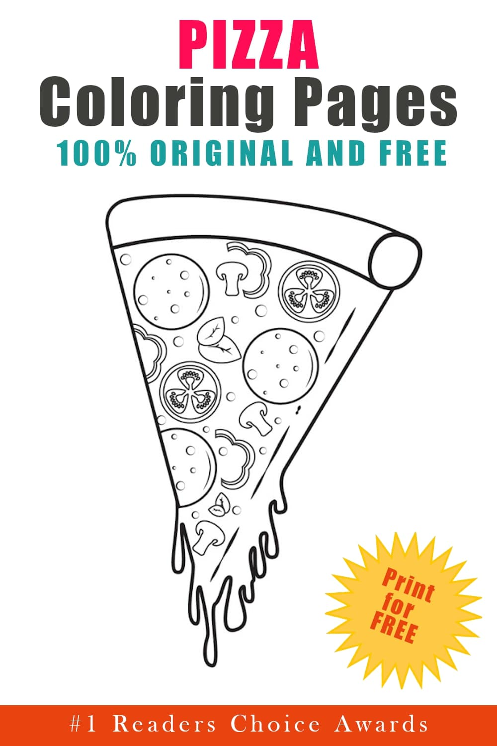 original and free pizza coloring pages