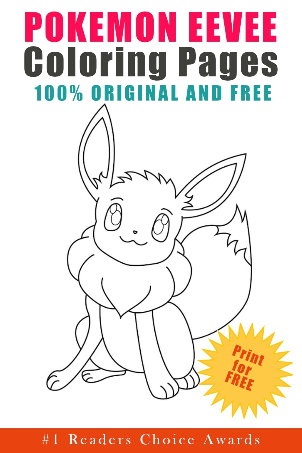 original and free pokemon eevee coloring pages