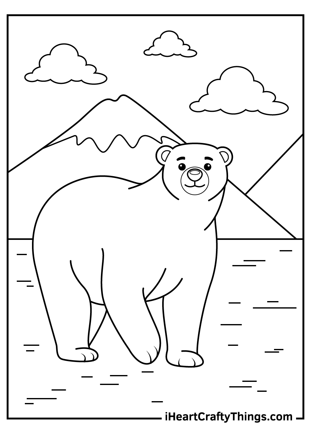 cute polar bears coloring pages free