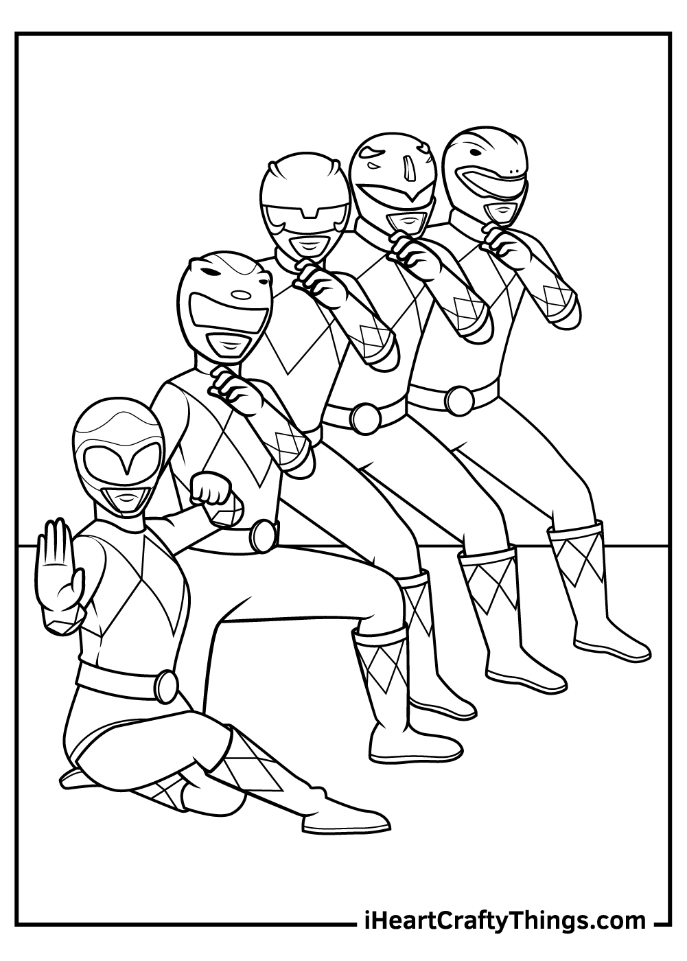 full crew power rangers coloring pages printable free
