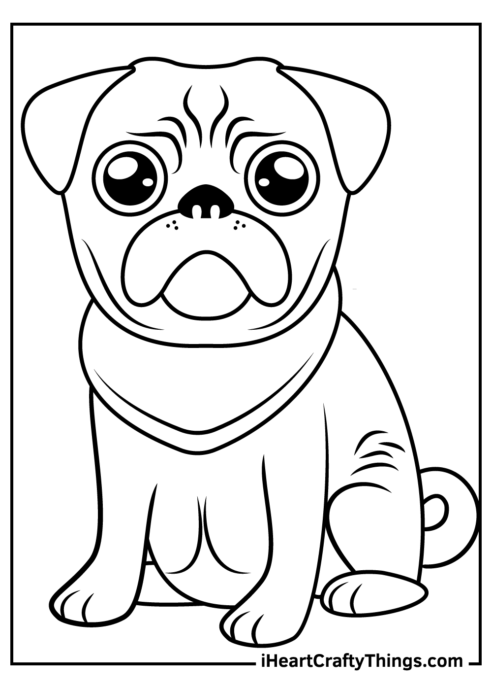 cute pug coloring pagesfree printable