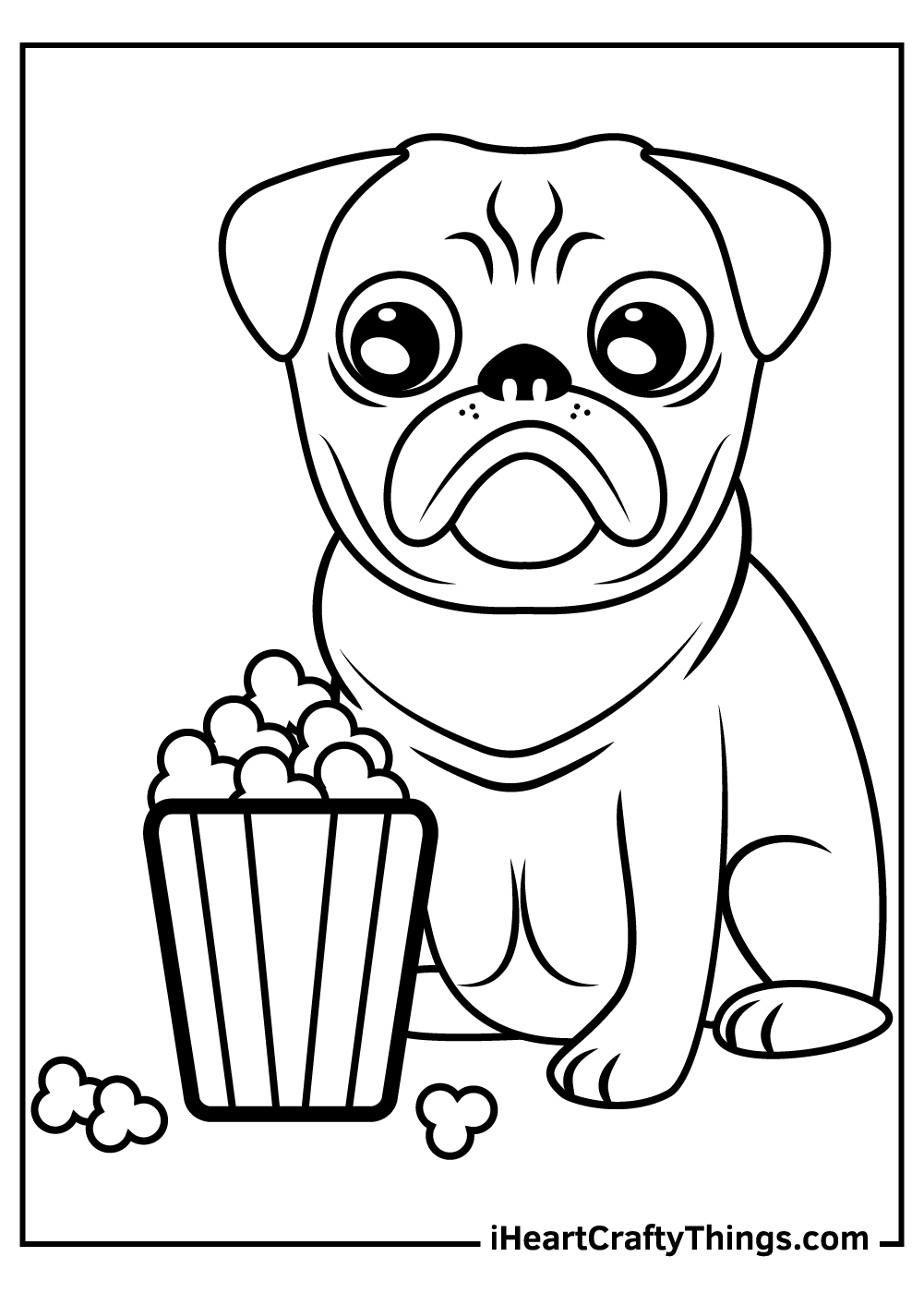 cute pug dogs coloring pages free download