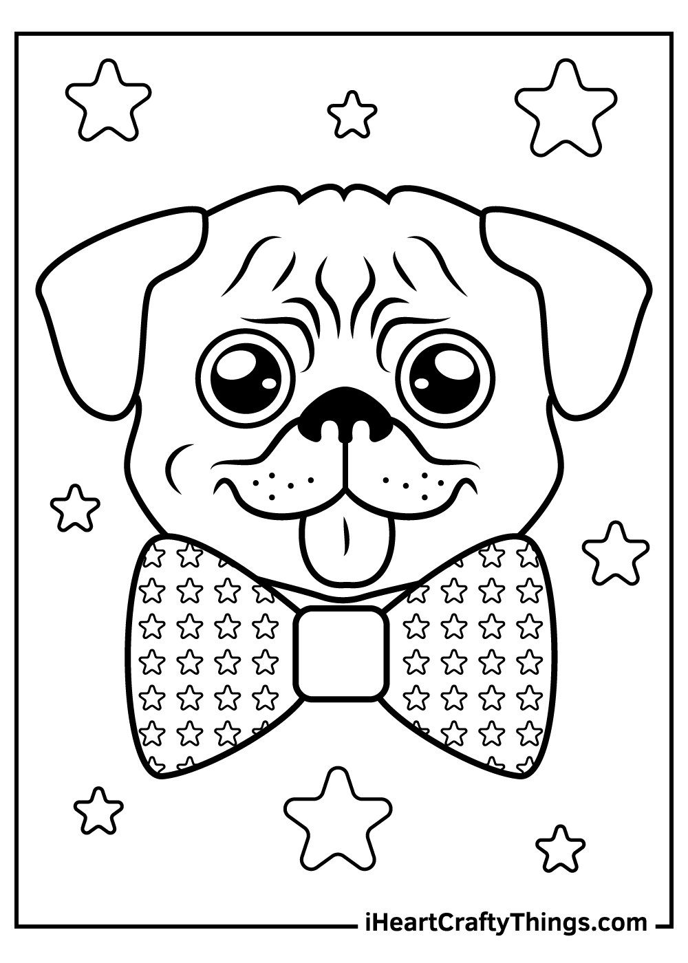 cute pug coloring pages with borders