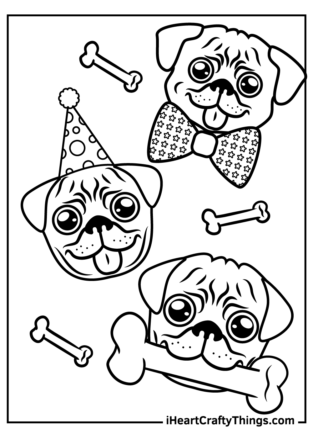 valentine pug coloring pagesfree download