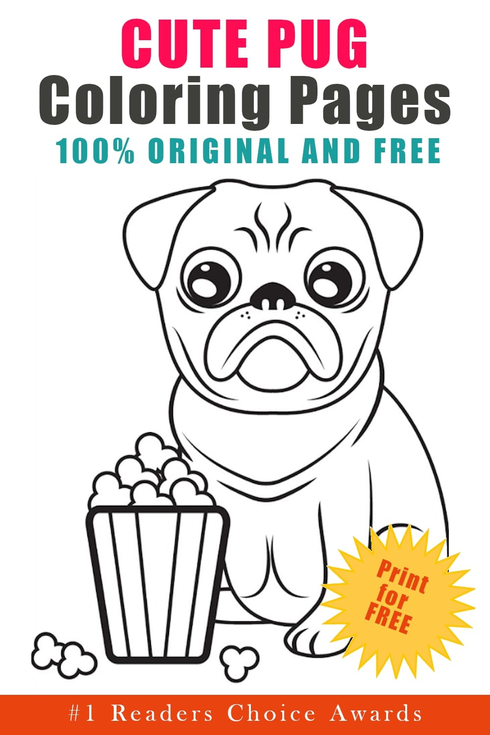 original and free cute pug coloring pages