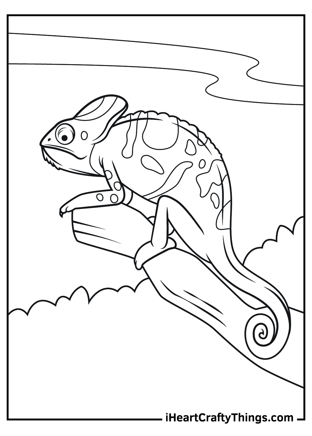 free printable realistic chameleon coloring pages