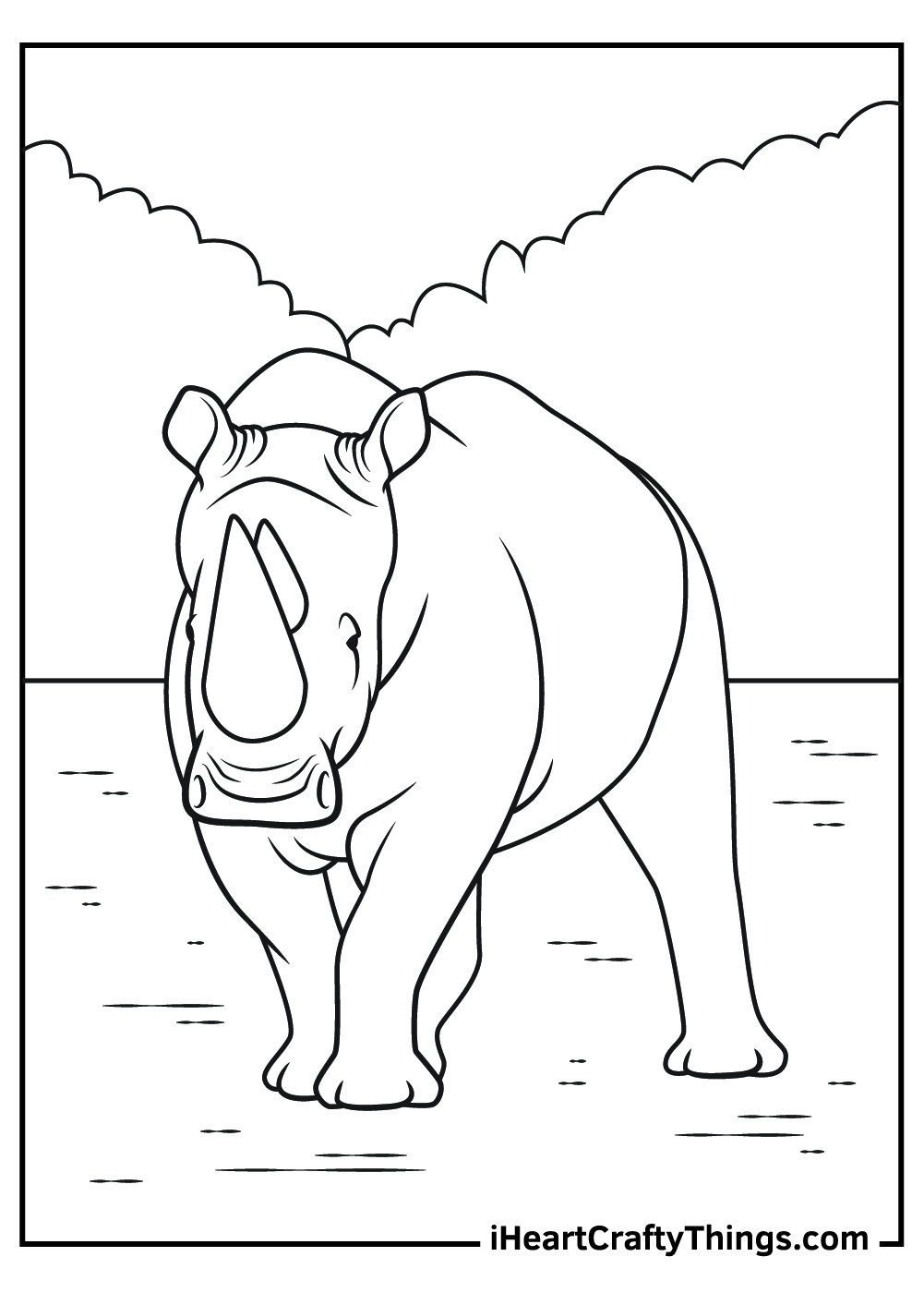 free printable realistic rhinoceros coloring pages