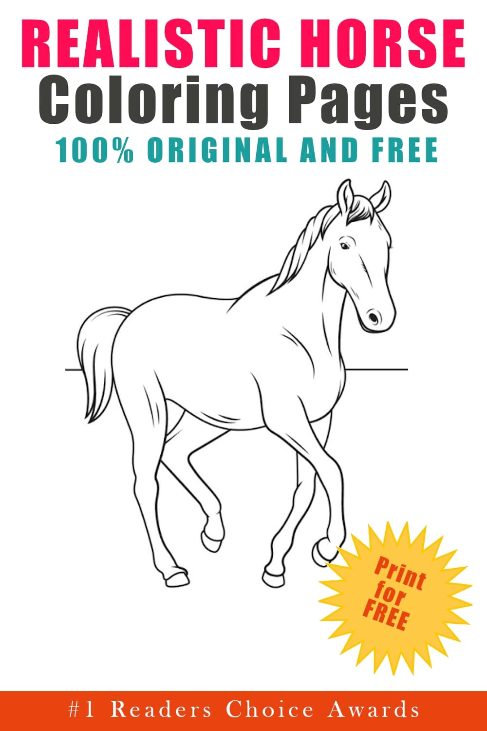 original and free realistic horse coloring pages