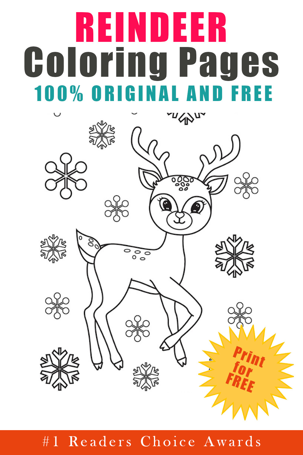 original and free reindeer coloring pages