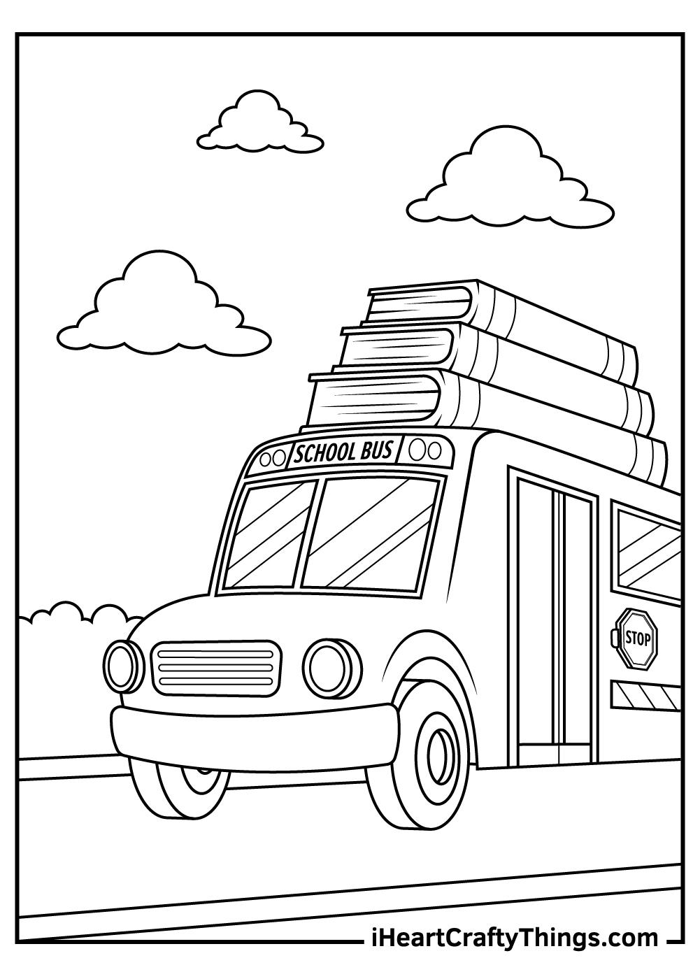 school bus coloring pages for kindergarten