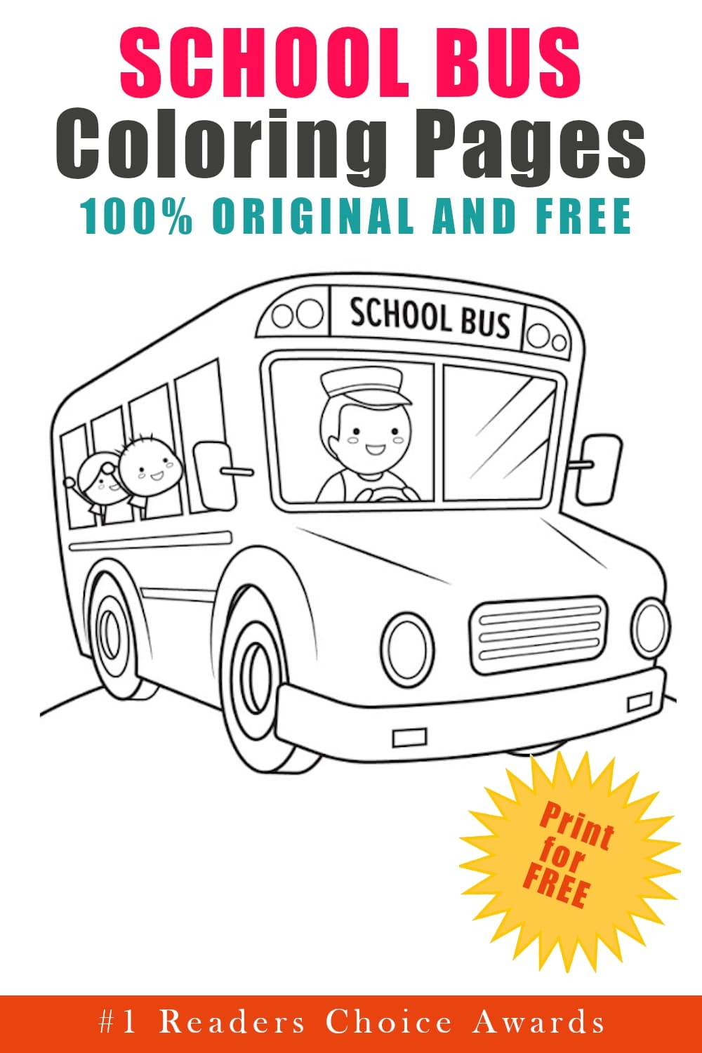 original and free school bus coloring pages