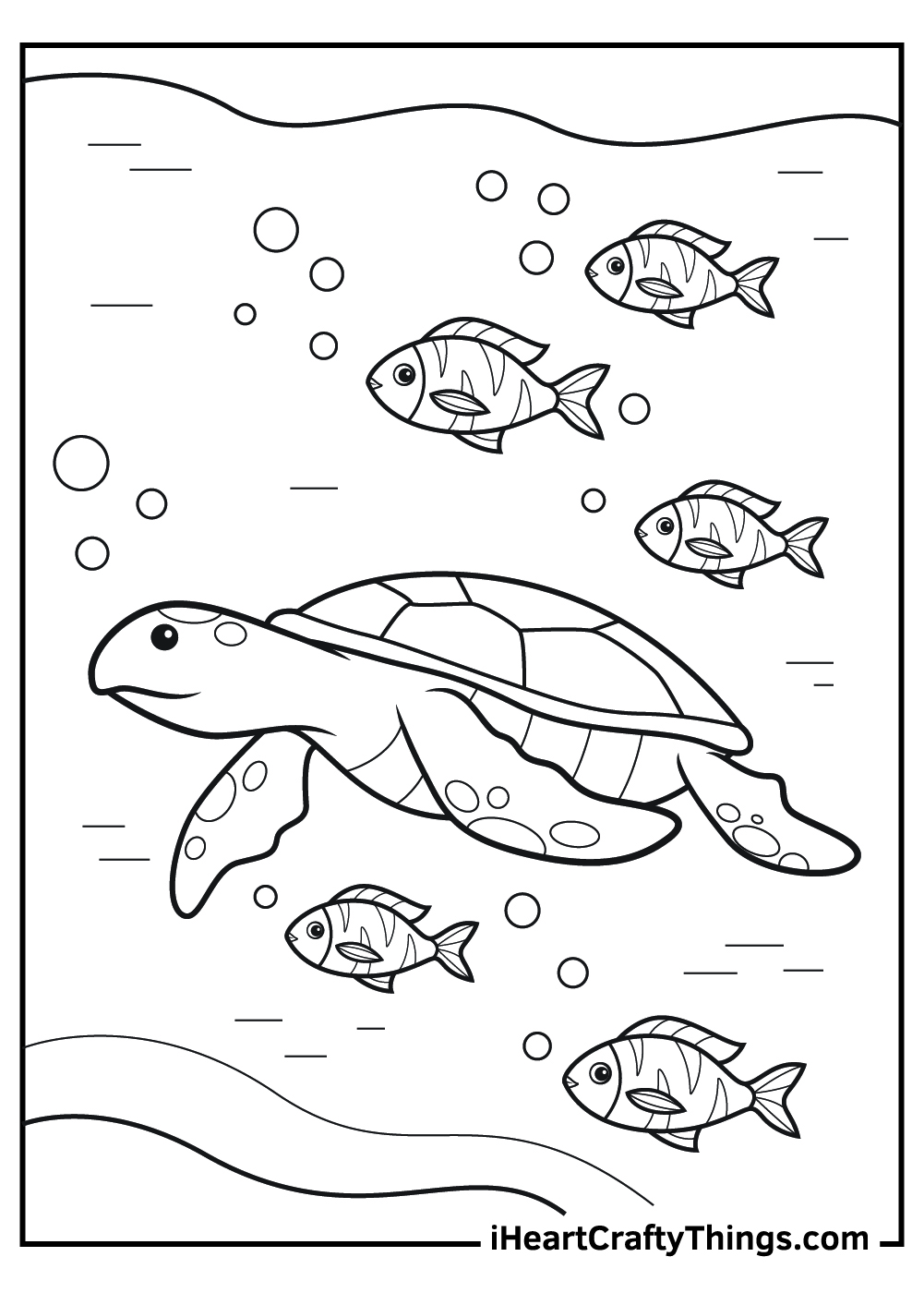 sea turtle and fish coloring pages free download
