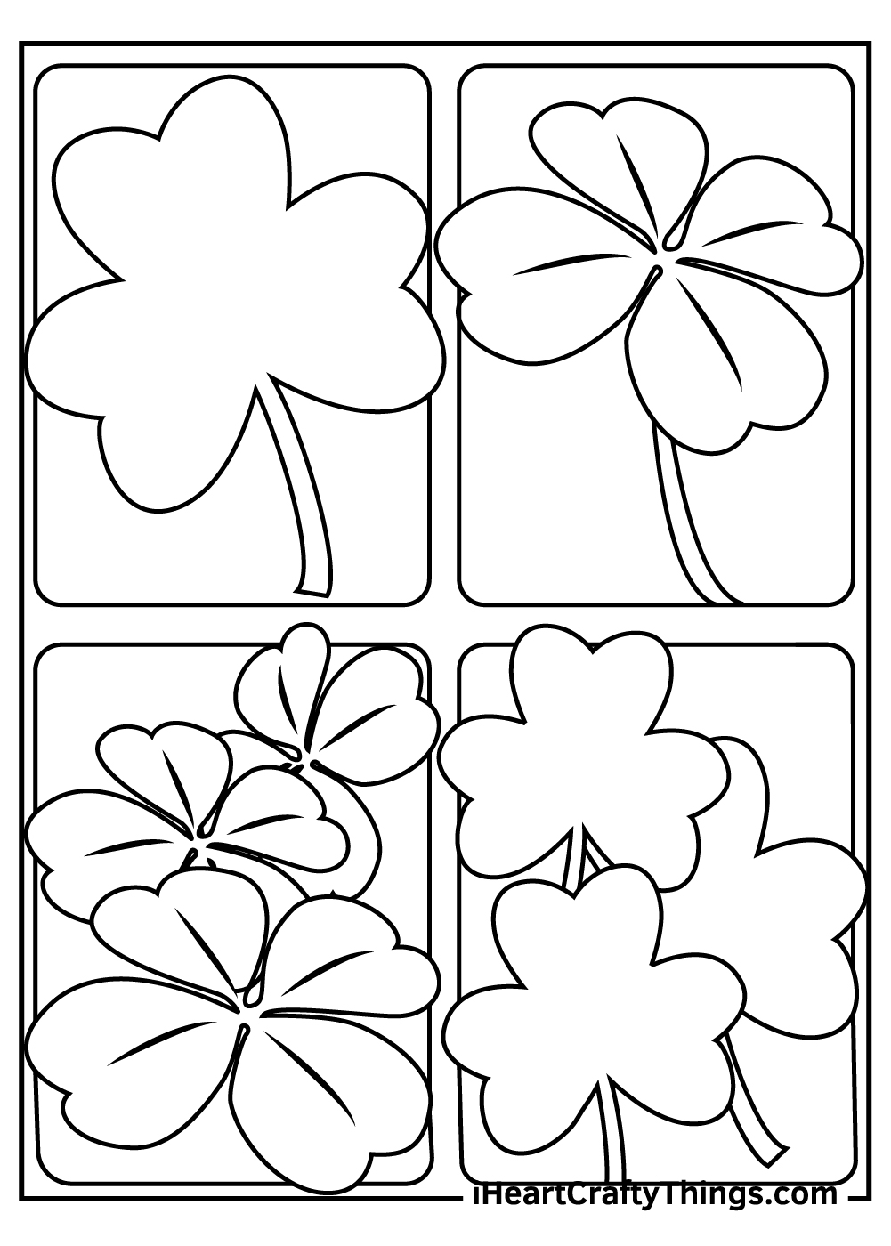 black and white printable shamrock coloring pages
