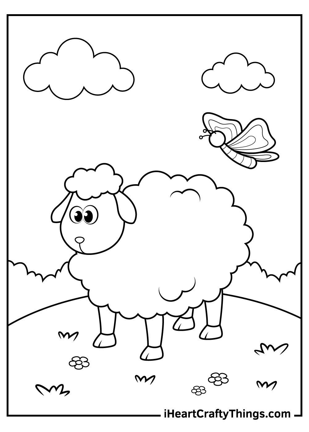 sad black and white sheep coloring pages pdf