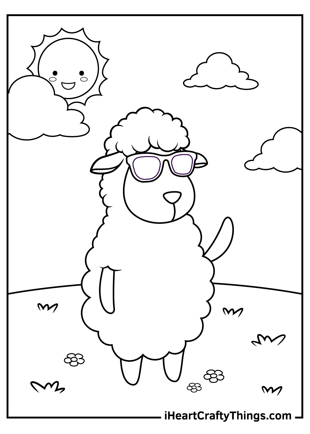 funny sheep coloring pages for kids