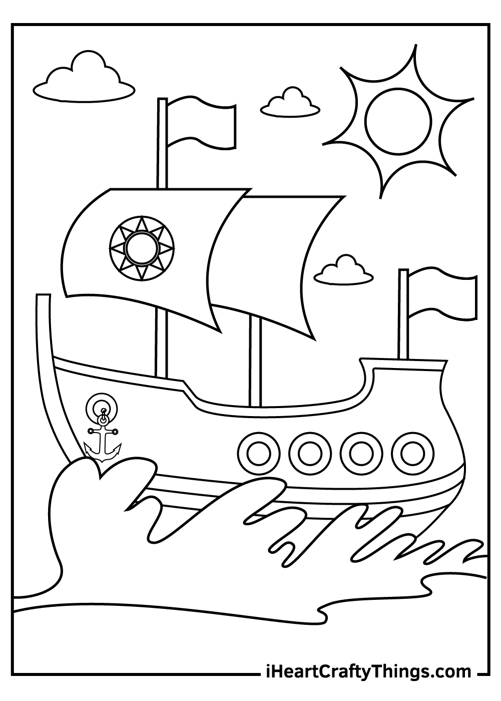 realistic ships and boats coloring pages