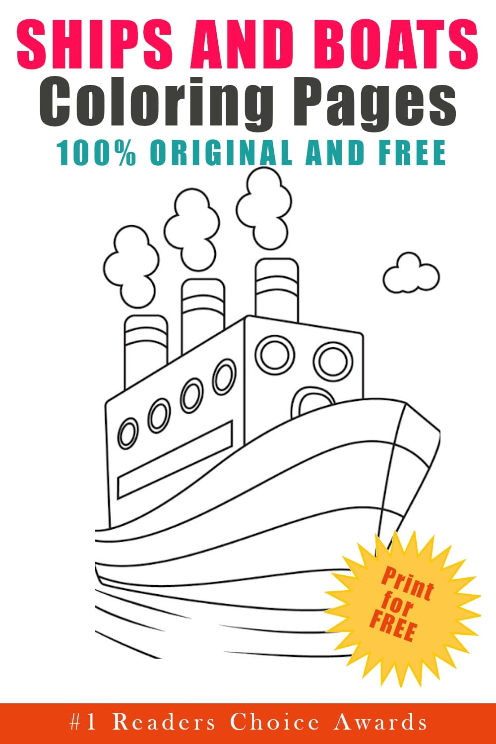 original and free ships and boats coloring pages