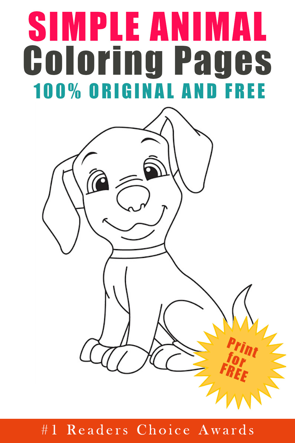 original and free simple animal coloring pages