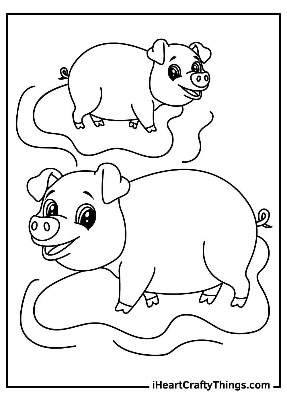 simple pigs coloring pages free printables
