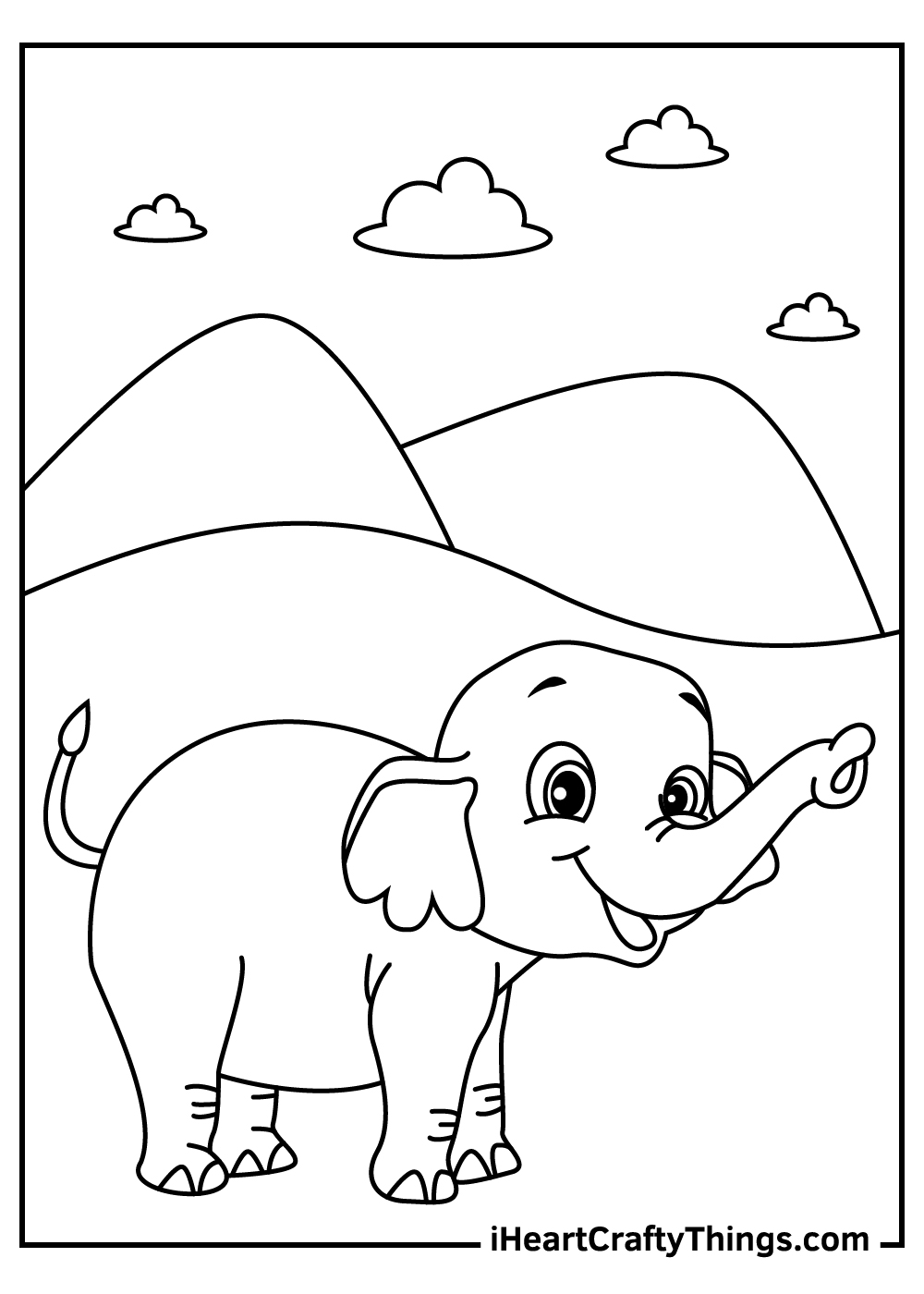 simple elephant coloring pages free printable