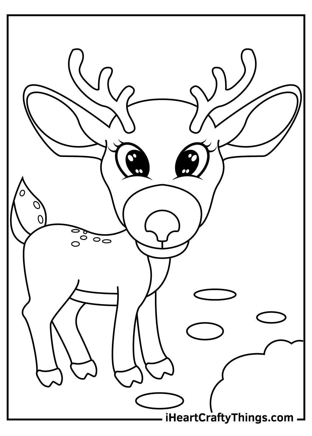 simple reindeer coloring pages free download