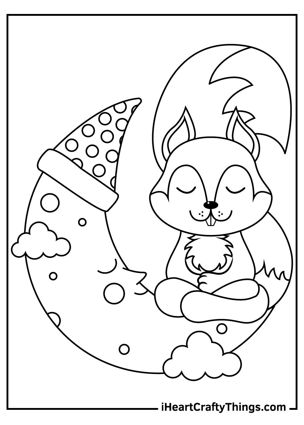 squirrel on a moon coloring page free printable
