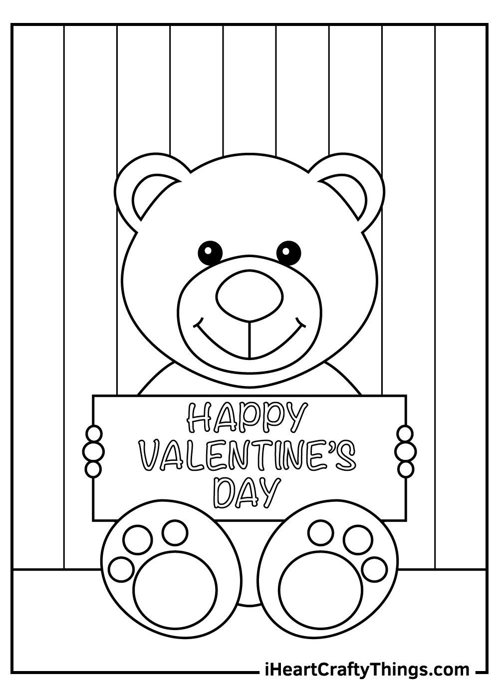 Happy valentine's day coloring pages teddy bear