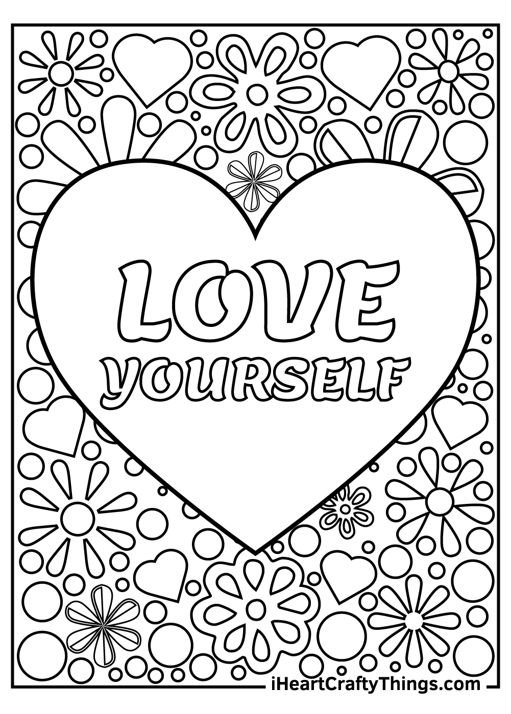 love yourself stress relief coloring pages free printable