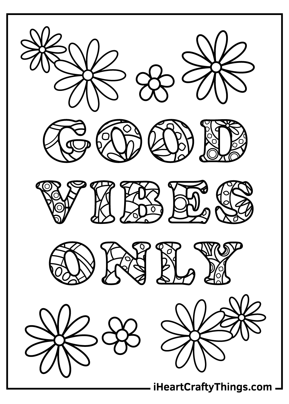 good vibes only stress relief coloring pages free printable
