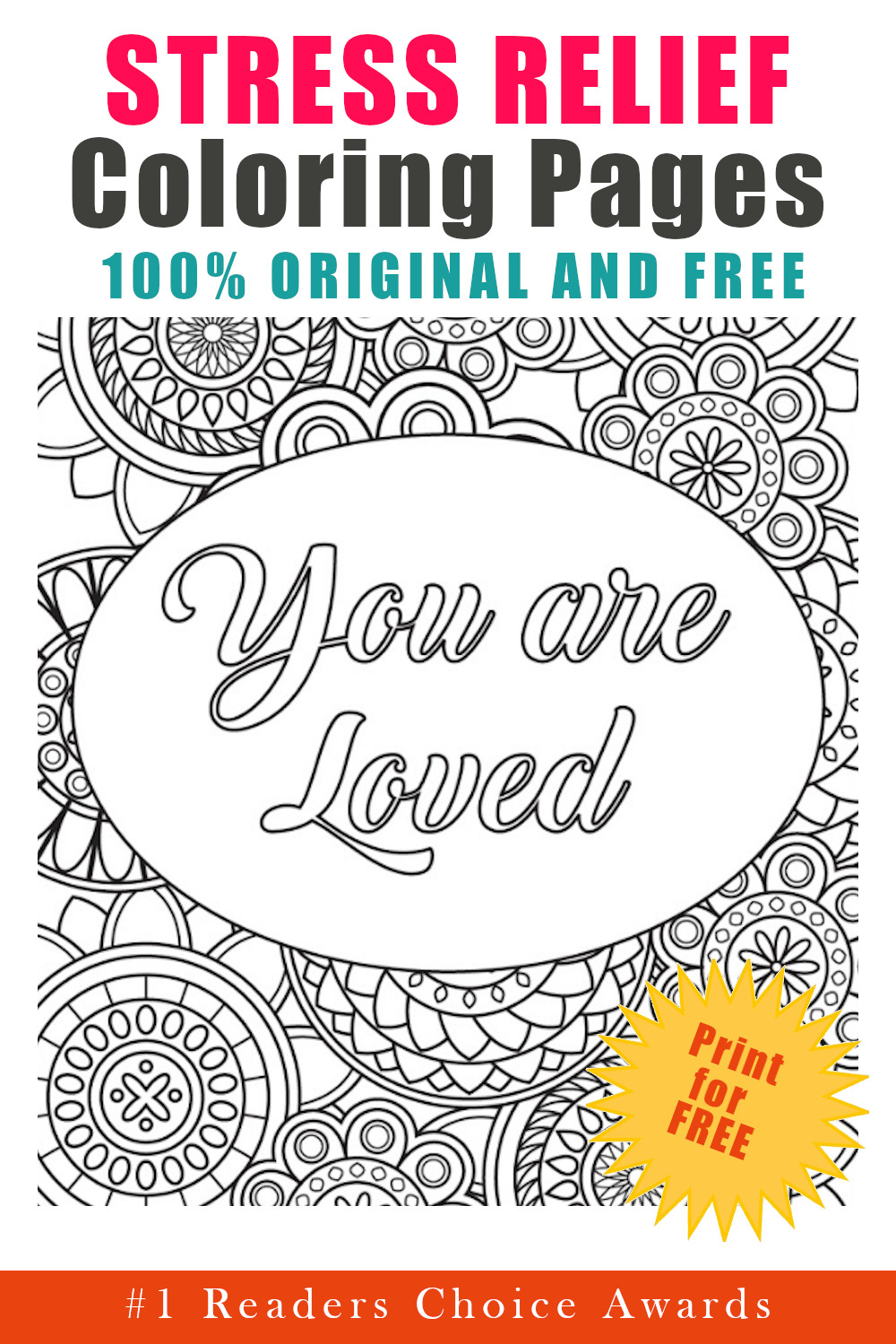 original and free stress relief coloring pages