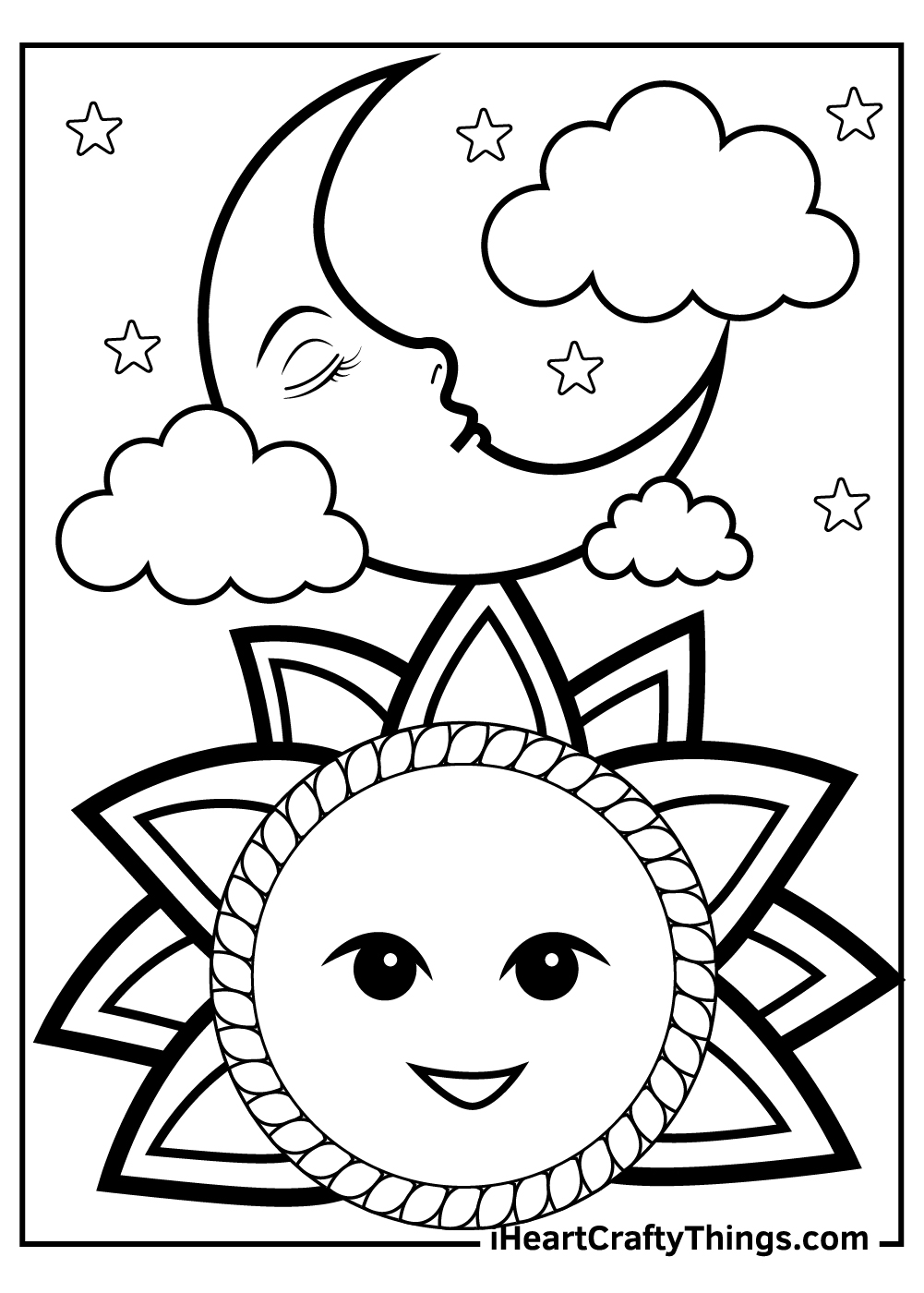 funny sun and moon coloring pages free download