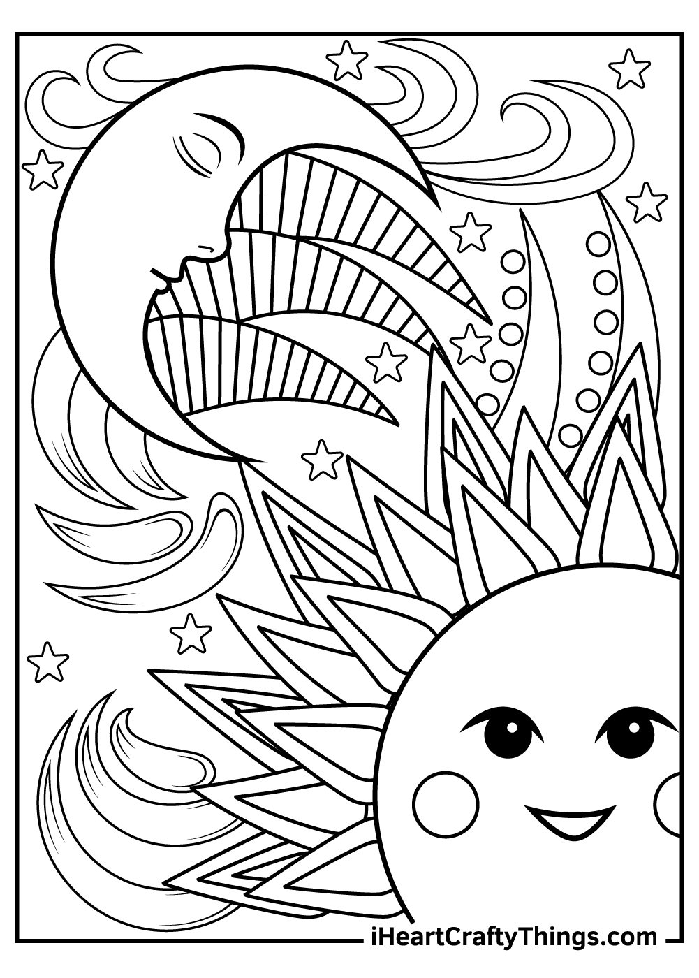 fantasy sun and moon coloring pages for adults