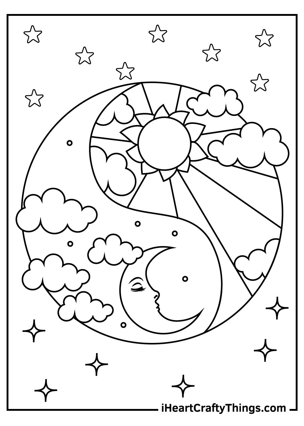 abstract sun and moon coloring pages