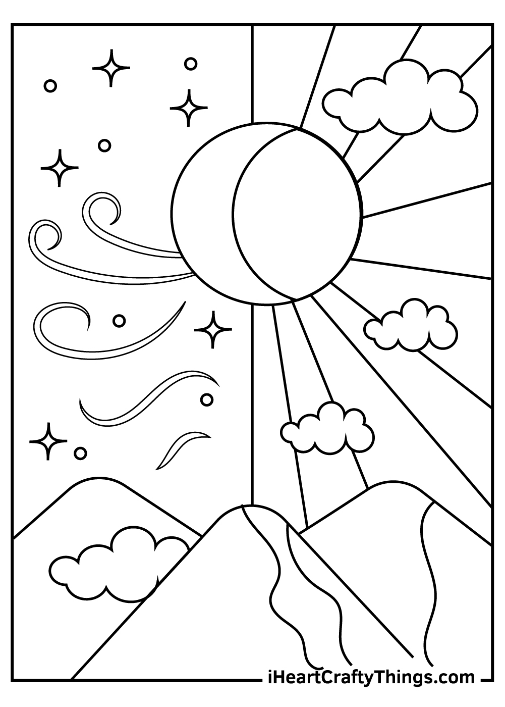 psychedelic sun and moon coloring pages