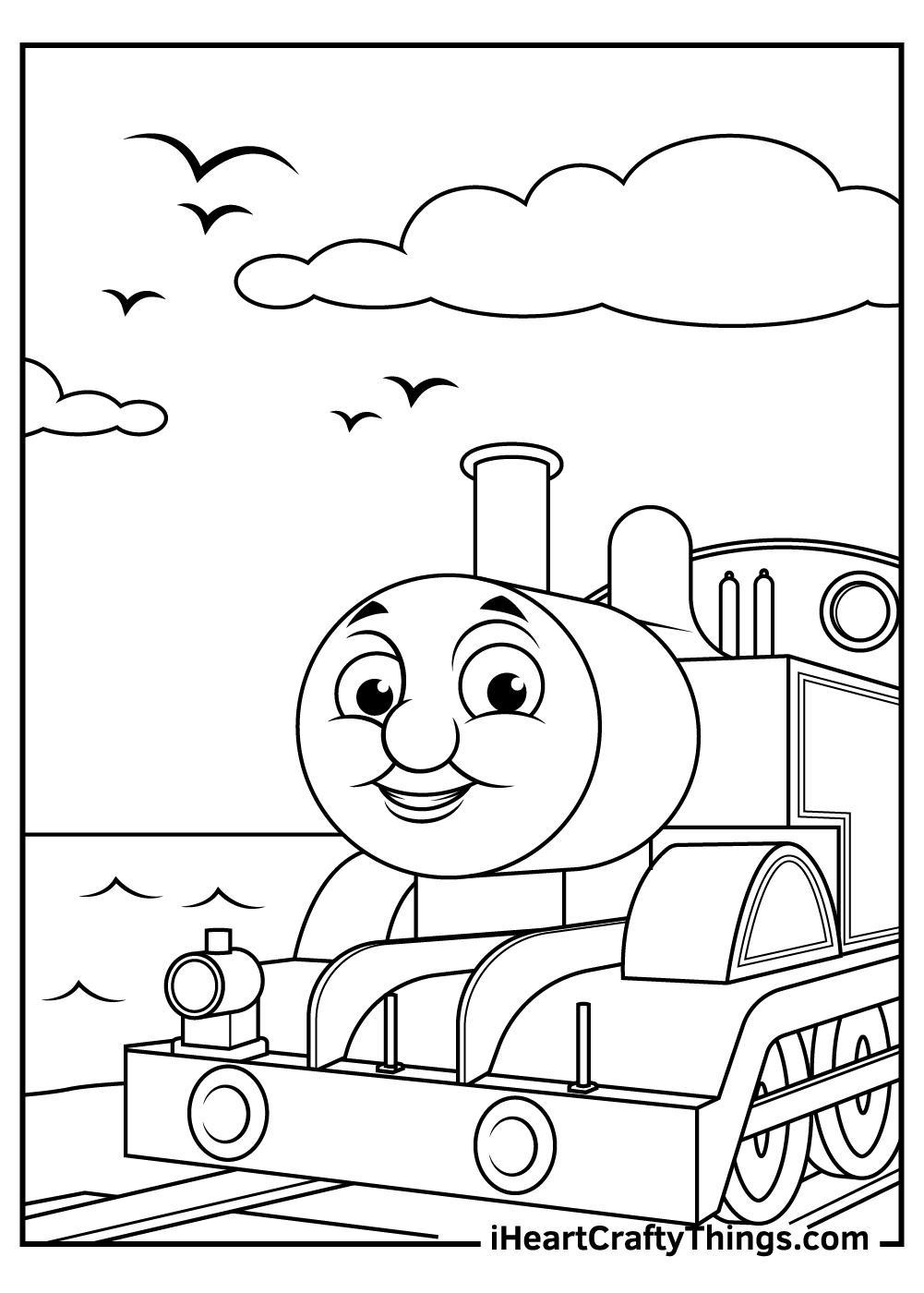 black and white thomas the train coloring pages