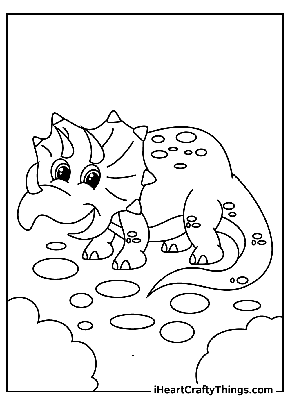 cute baby triceratops coloring pages for kids