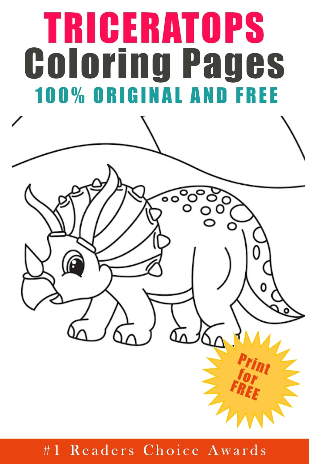 free original triceratops coloring pages