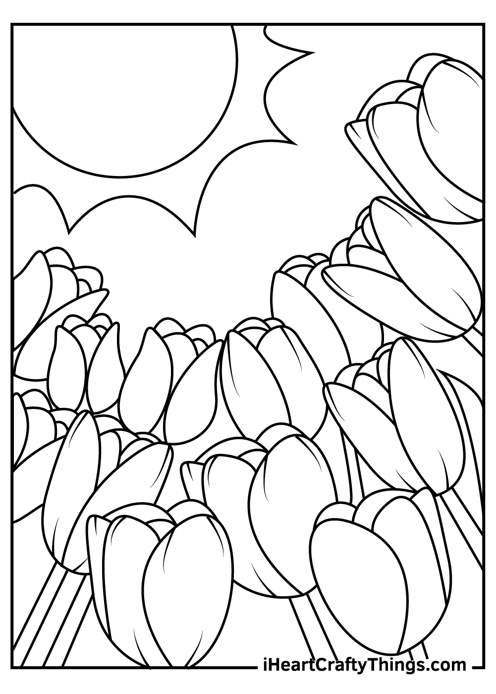 black and white tulip coloring pages