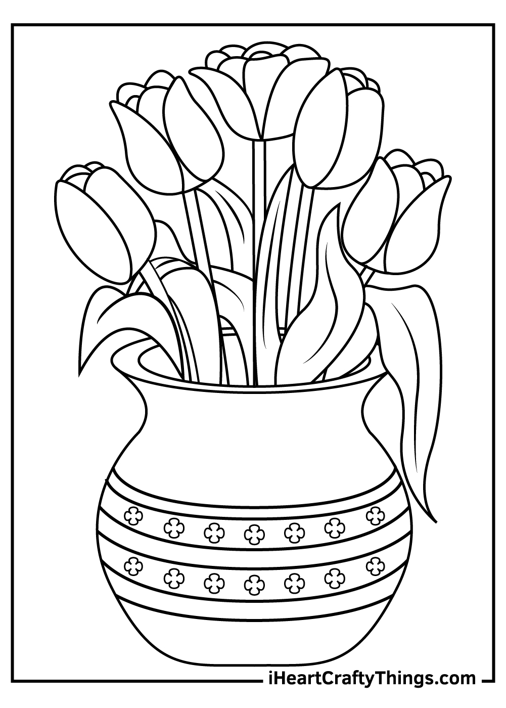 five tulips coloring pages printable