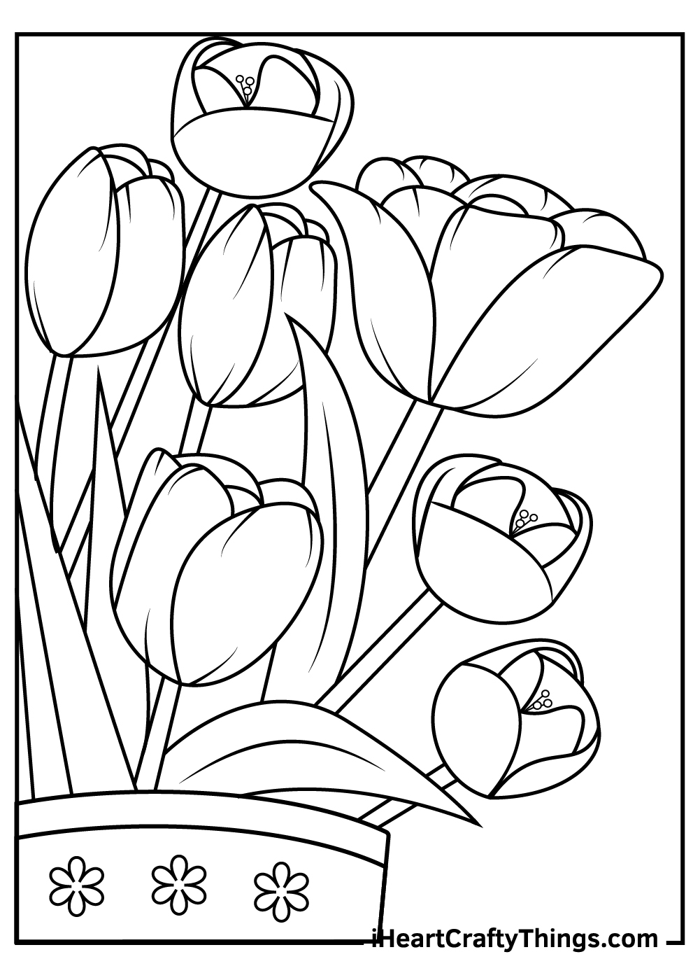 free printable tulips coloring pages pdf