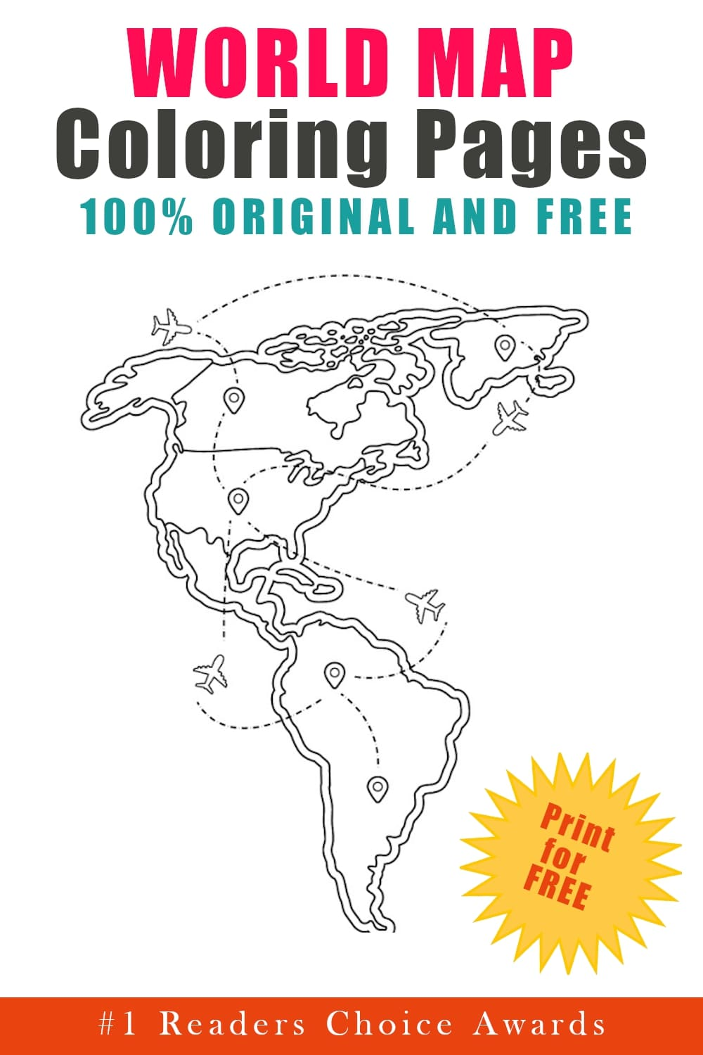 original and free world map coloring pages