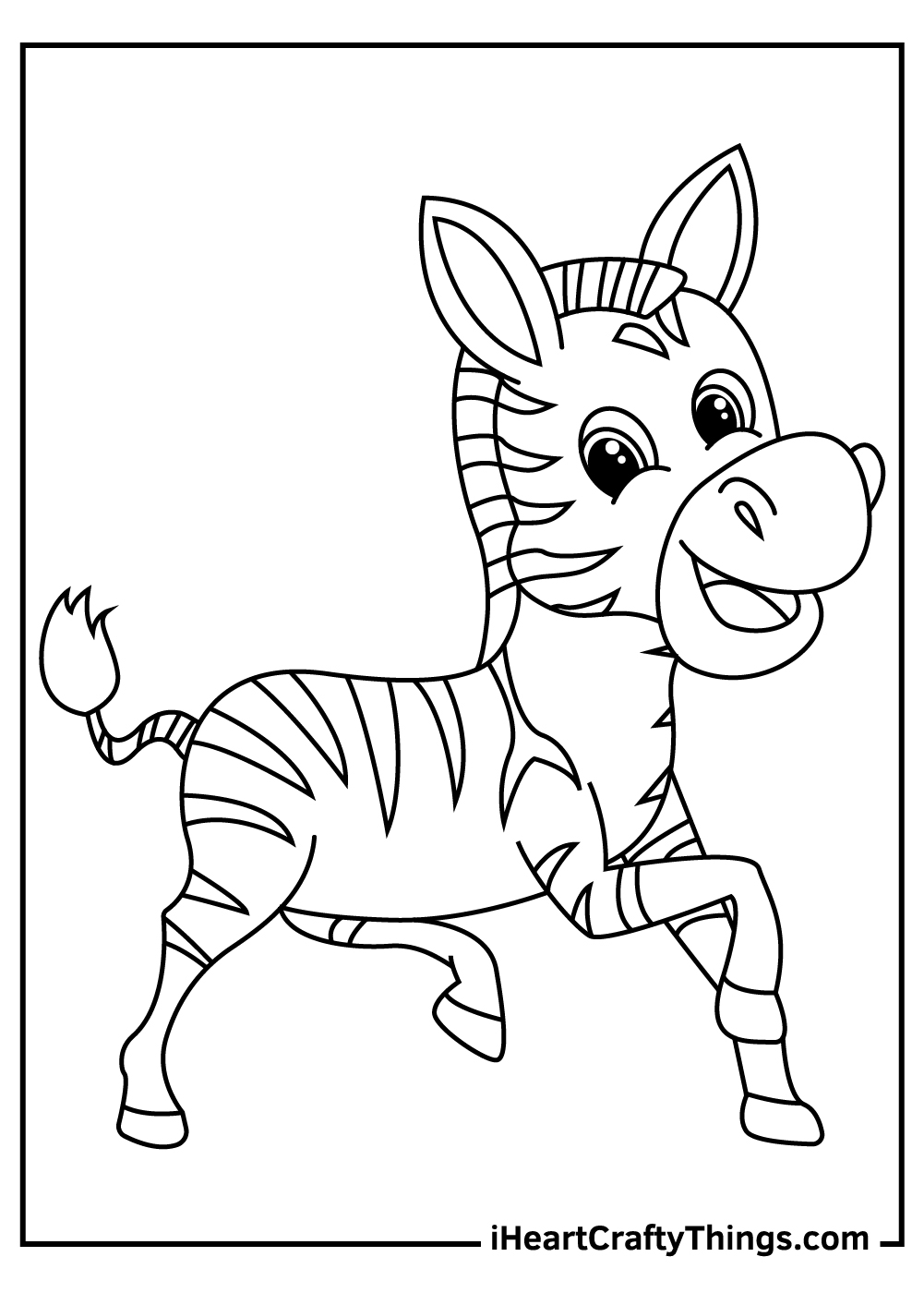 cute cartoon zebra coloring pagesfor kids