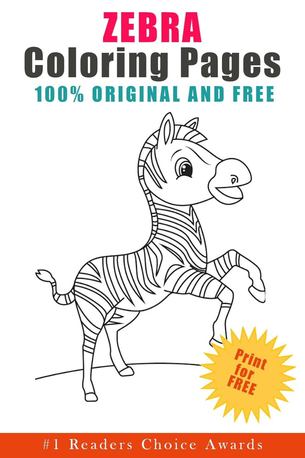 original and free zebra coloring pages