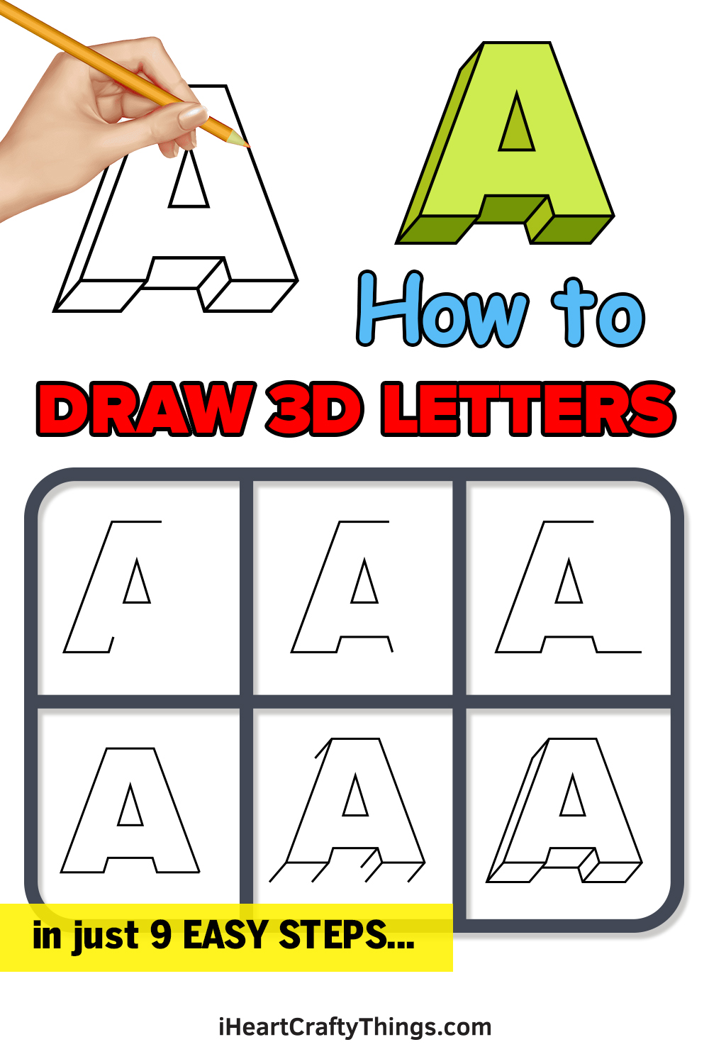 how to draw 3d letters in 9 easy steps