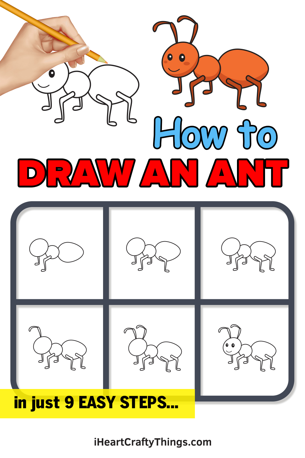 how to draw an ant in 9 easy steps