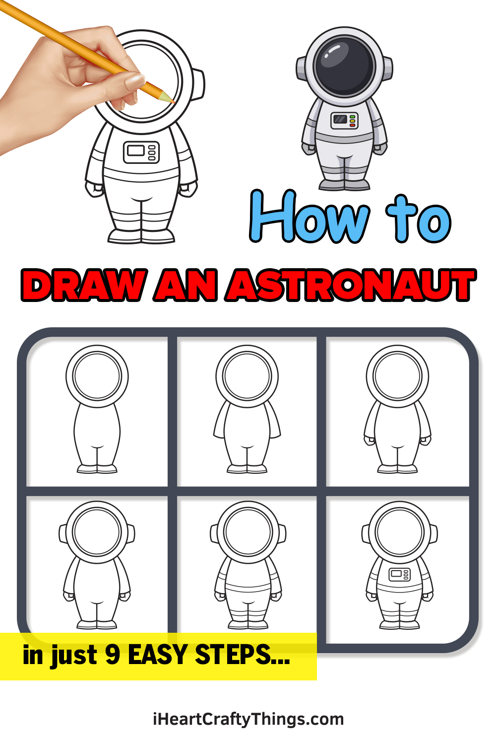 how to draw an astronaut in 9 easy steps